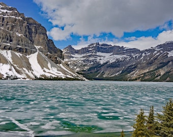 Lake Peyto ,Frozen landscape mounted print , Canadian Rockies lake peyto