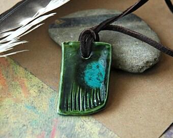 small green ceramic pendant necklace