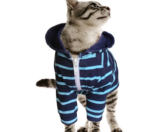 Custom Cat Hoodie Cat Clothes Cotton Lycra Hoodie for Cat in Multiple Sizes ( L, M, S)