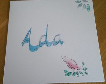 Ada hand-painted name card new baby