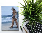"""OIL PAINTING of a woman walking on a BEACH, called """"Girl From Ipanema"""""""