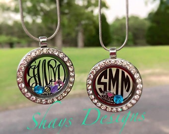 personalized Initial birthstone necklaces