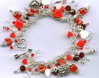 STERLING SILVER HEARTS Crystal Charm Bracelet