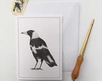 Greeting Card - Black Backed Magpie