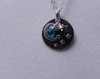 Small moon and stars pendant with gemstones necklace