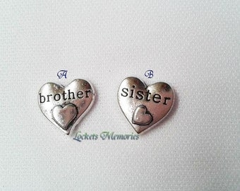 Brother Floating Charm, Sister Floating Charm, Sibling Floating Charm, Floating Locket, Brother charm, sister charm, Charms for lockets