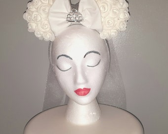 Custom Made to Order White Floral Wedding Bridal  Minnie Mouse Ears Headband
