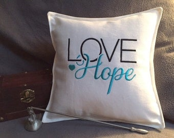 LOVE Hope pillow, 9.5x9.5 small pillow, square pillow, embroidered pillow, decorative pillow, gifts under 15, throw pillow, accent pillow