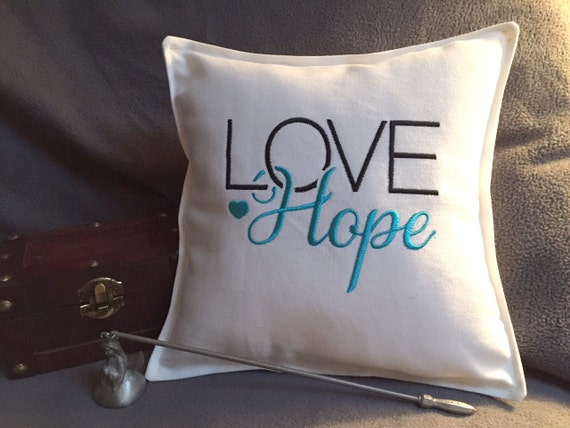LOVE Hope black aqua pillow, 9.5x9.5 small pillow, square pillow, embroidered pillow, decorative pillow, gifts under 15, accent pillow