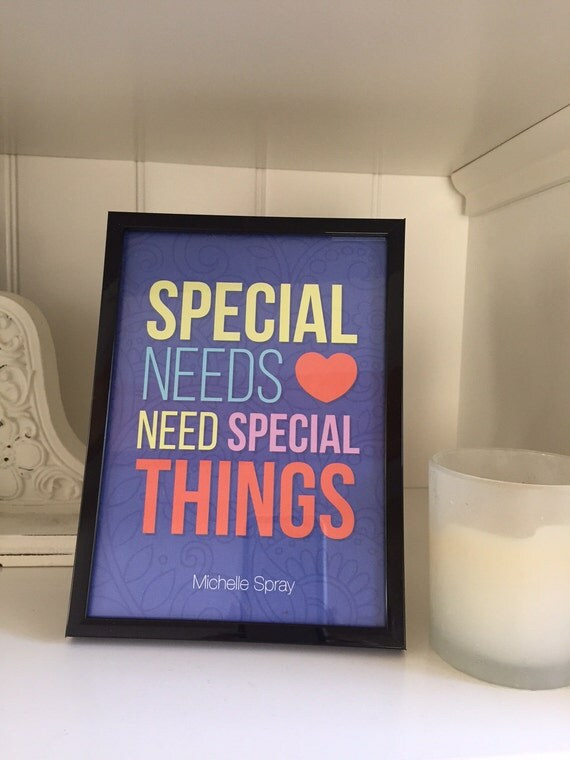 Special Needs quote print 5x7, WITH 5x7 black frame, art quote, Special Needs quote, quote in frame, gifts under 15, Special Needs