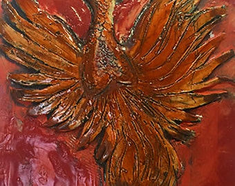 Beautiful Handmade Phoenix Fine Art Tile