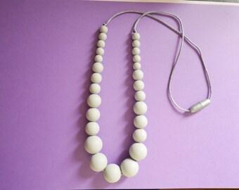 Grey Silicone Pearls, Silicone Necklace, Teething Necklace, Silicone Nursing Necklace, Breastfeeding Necklace, Mum Necklace