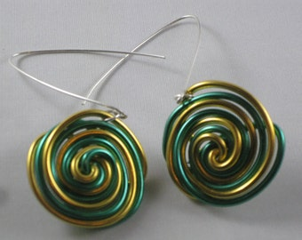 Candy Cane Green Bay Packers Wire Earrings