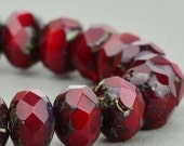 Czech Glass Rondelle Beads, Red Opaline with Picasso, 9x6mm, 25 Beads