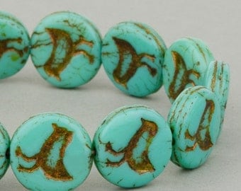 Bird Beads - Czech Glass Beads - Czech Coin Beads - Turquoise Opaque with Dark Bronze Wash Beads - 12mm  Beads - 15 beads