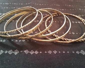 Bronze and Silver Bangle Set