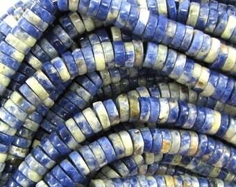"""8mm blue sodalite heishi beads 16"""" strand 33490"""