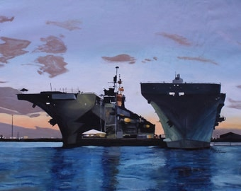 Unmounted Print of Aircraft Carriers in San Diego Harbor