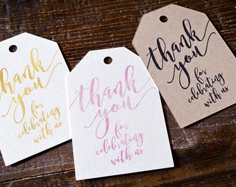 Thank You Tags for Wedding Favors - Handwritten Font