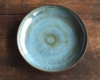 Ceramic plate blue, Brown. Blue dinner plate in earthy. Stone products handcrafted Dinnerware.