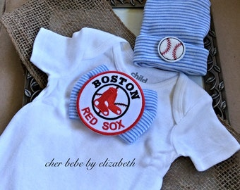 Boston Red Sox hospital hat coming home outfit, Baseball beanie, baby boy, Red Sox bow tie, 100% cotton Boston onesie outfit, infant