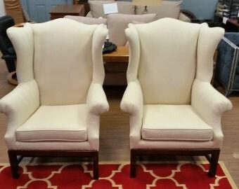 Just refurbished vintage wing chairs