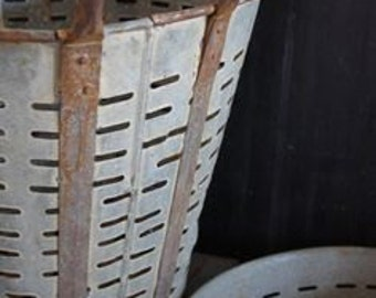 TWO Vintage Olive Bucket Basket BEST PRICE