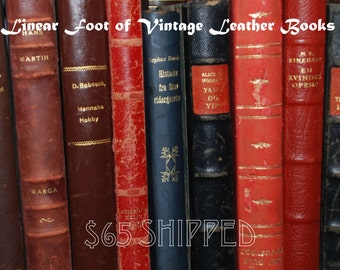 Antique Books Leather Vintage Library Linear Foot