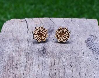Snow Flake Timber Earrings