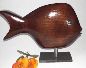 Wood sculpture fish
