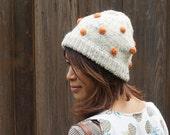Hand Knit Mushroom Beanies, Slouchy Handmade Beanie, Winter hat (cream with orange dot)