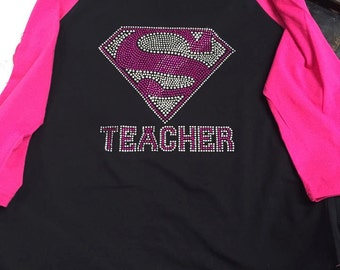 Pink Superman Teacher tshirt