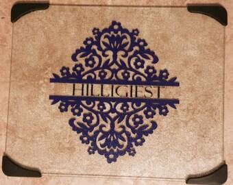 Personalized Cutting Board with Flourish Design
