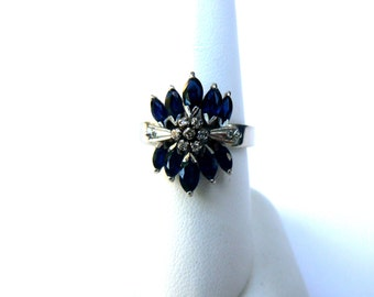 Vintage 1940's Sapphire and Diamond Ring 18K White Gold