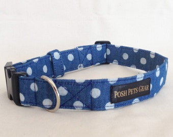 Spotty Denim Dog Collar
