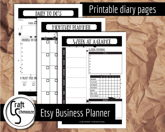Etsy diary pages - Instant download printables