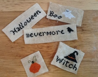 Pattern, Halloween cross stitch set, Halloween sayings, Spooky sayings,  small ornament set,  Halloween,Halloween sayings