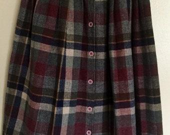 60's Vintage Wool Plaid Midi Skirt
