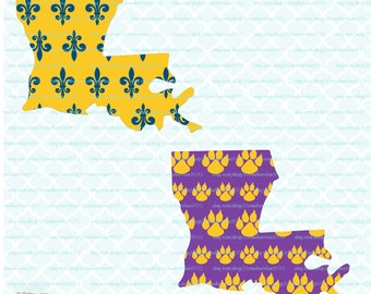 Louisiana State Shape - State Pride / Love svg Saints svg Tigers svg dxf eps jpg files for Cricut / Silhouette and other cutting machines