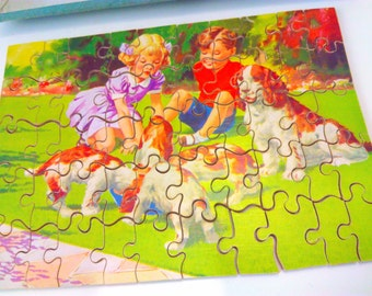 Vintage, 1950s, jigsaw, 50 piece, puppies, puppy, jigsaw puzzle, vintage jigsaw, vintage jigsaw puzzle, vintage toy, vintage toys, 1950s toy
