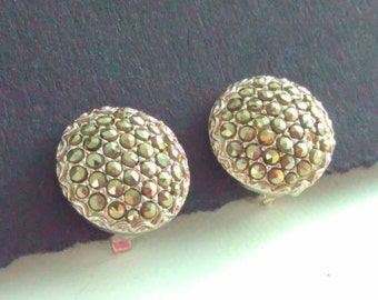 Clip on earrings, vintage earrings, earrings, marcasite earrings, wedding jewelry, bridal earrings, wedding earrings, wedding, marcasite