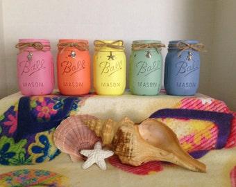 Colorful Beach Days Mason Jars
