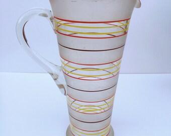 Vintage Striped Glass Jug