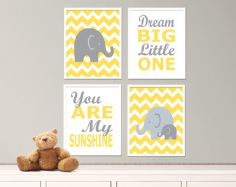 "Printable Elephant Nursery Art Print Set, Suits Baby Nursery, Yellow and Gray Nursery Decor, Set of 4-8x10"" Digital Instant Download - S260"