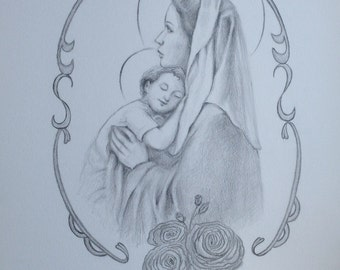 100% Handmade Pencil Drawing, Virgin Mary and Child Jesus, Catholic Art, Religious Portrait, Portrait of Saint, Mother Mary and Child Jesus