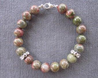 10 mm Green & Red Unakite Genuine Semi Precious Stone Beaded Bracelet With Rhinestone Metal Accent
