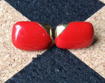Vintage Red and Gold Tone Earrings