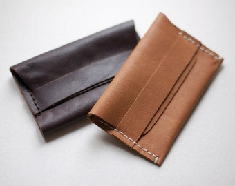 Natural leather, card holder, handmade leather, hand stitched, leather card holder.