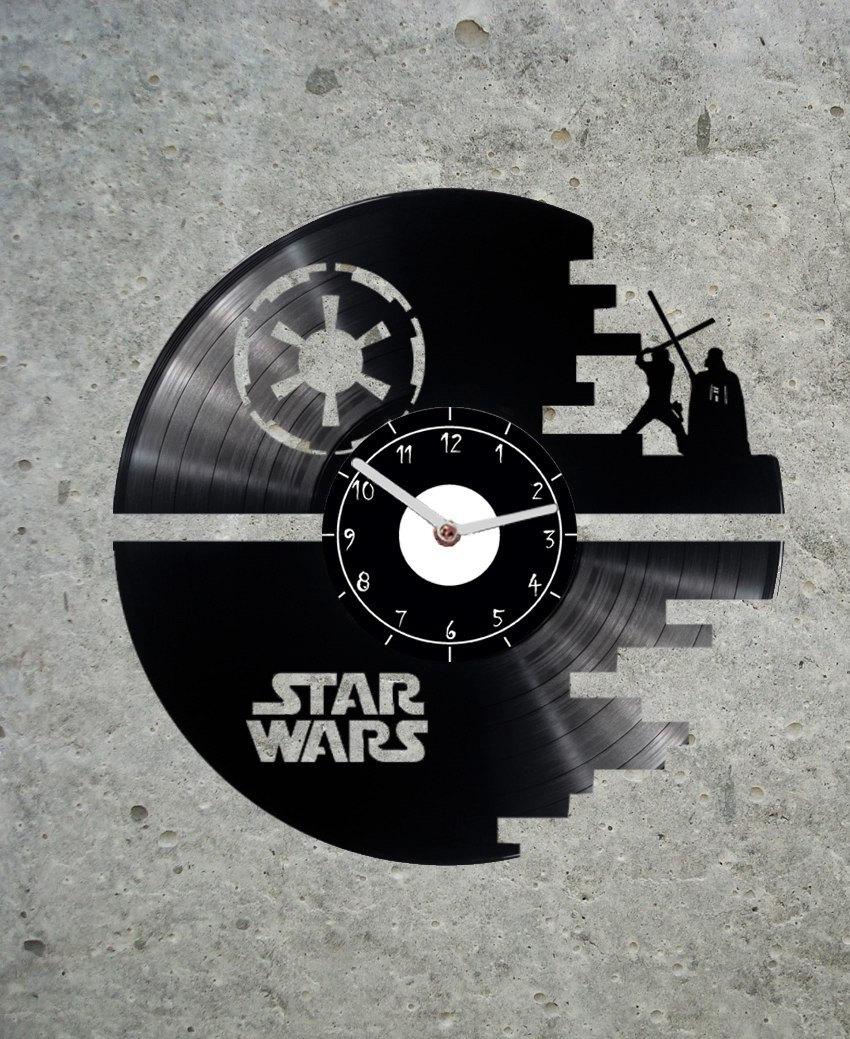 vinyl clock star wars death star star wars clock star. Black Bedroom Furniture Sets. Home Design Ideas