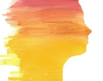 Watercolor Silhouette Profile Portrait